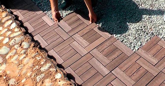 Тротуарная плитка из террасной доски