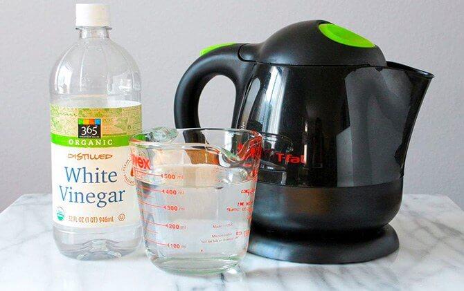 Очистка чайника от осадка уксусом