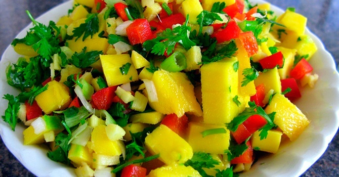 Рецепт с манго и вяленой клюквой