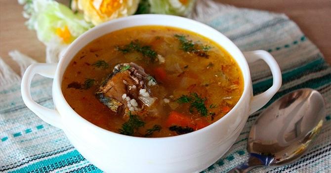 Рыбный суп из консервов сайры - рецепт блюда
