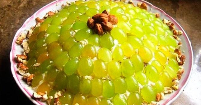 Рецепт салата Тиффани с виноградом и курицей
