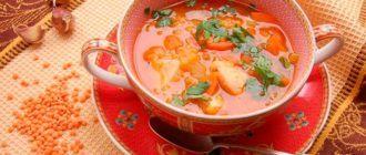Приготовим куриный суп с чечевицей