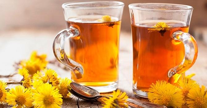 Чай из свежих листьев и цветков мать-и-мачехи