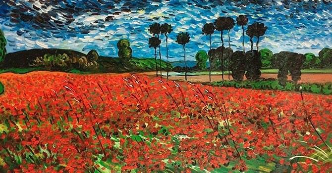 """Оригинальная картина Ван Гога """"Маковое поле"""""""