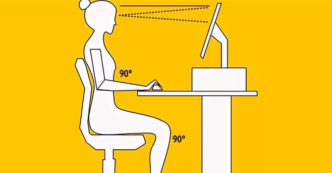 Схема правильной посадки за рабочим столом