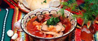 Борщ с грибами, горячее постное блюдо