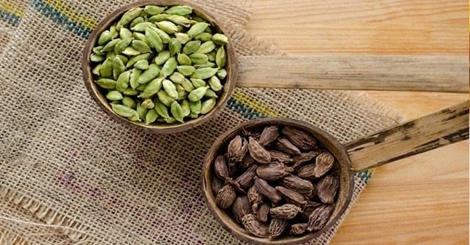 Черные и зеленые стручки кардамона