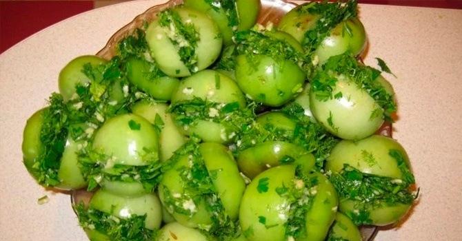 Рецепт соленых зеленых томатов