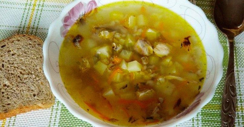 Суп с консервированной горбушей и перловкой