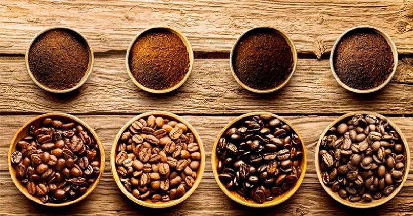 Зерна кофе разной степени обжарки
