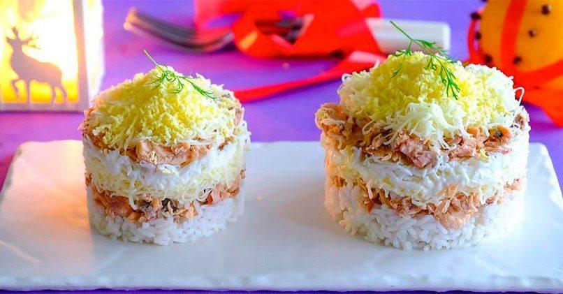 Мимоза с рисом