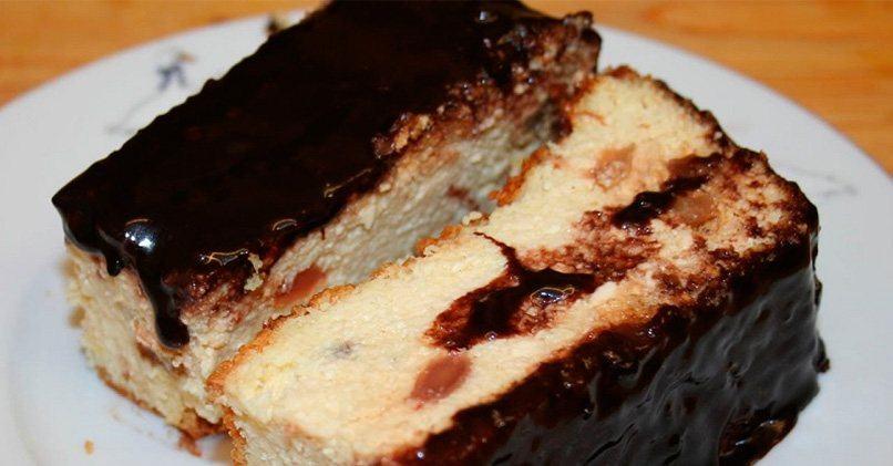 Творожная запеканка в шоколадной глазури