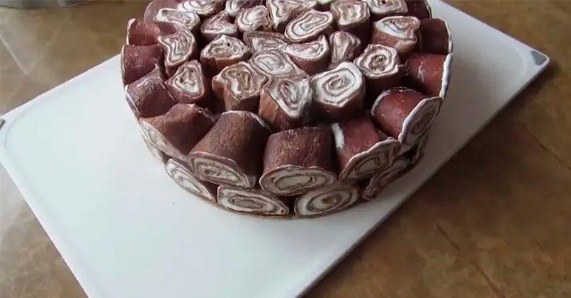 Блинный торт Пломбир в шоколаде