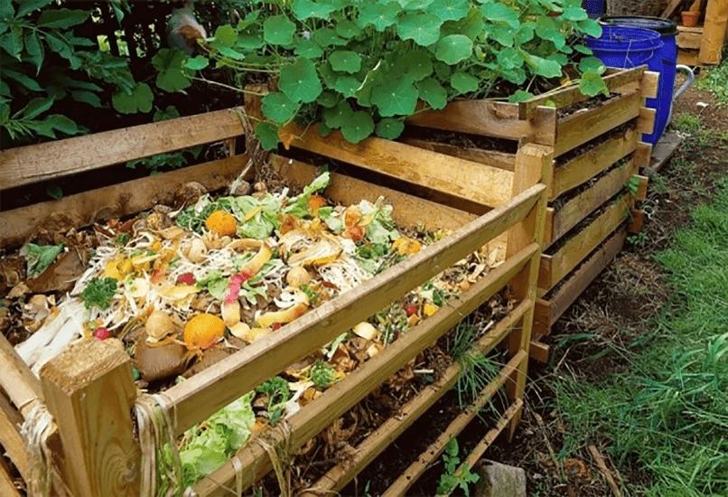 Наполнение компостного ящика дачными отходами