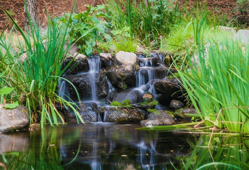 Каскадный водопад в пруду на дачном участке