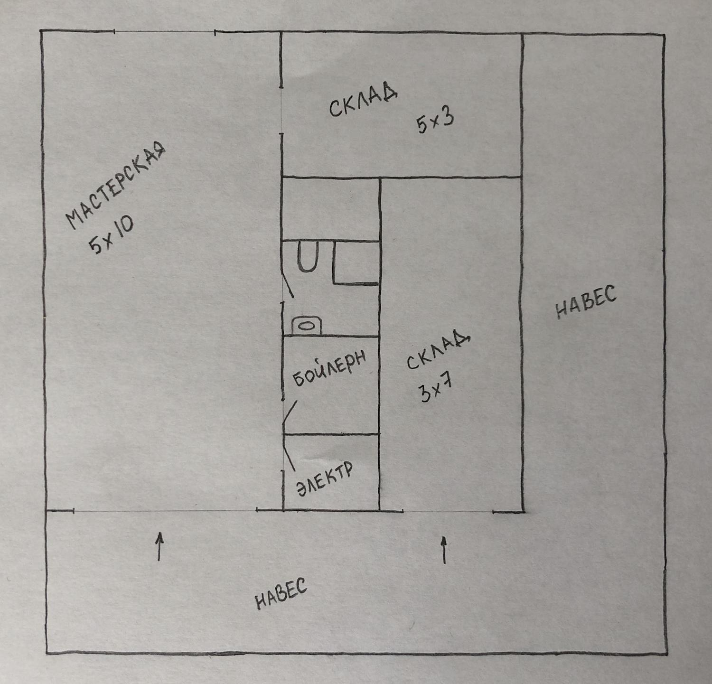 Планировка склада-мастерской
