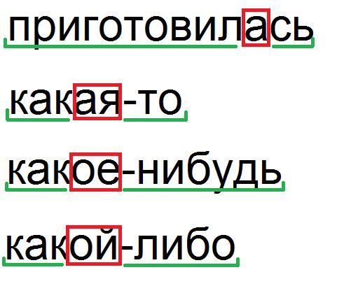 Примеры слов с прерывистой основой