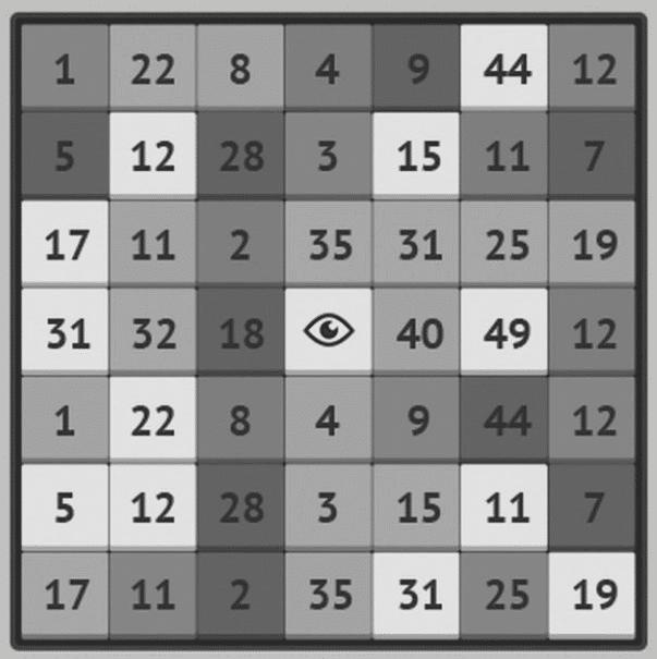 Сложная таблица Шульте