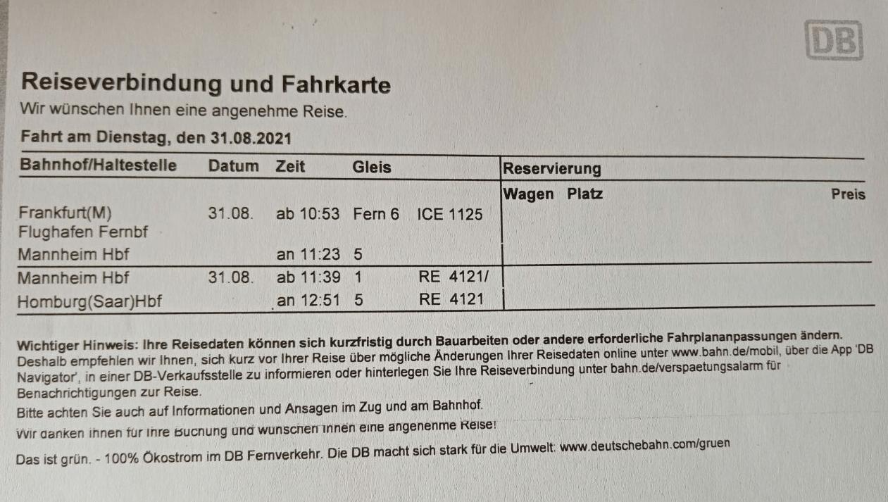 Fahrplan для поездки до Хомбурга